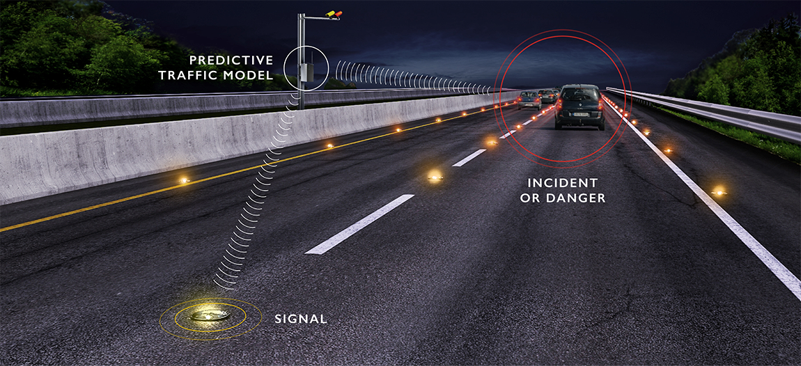 The system: a roadside control box builds a predictive traffic model based on vehicle movements to identify dangers, and light the studs accordingly.
