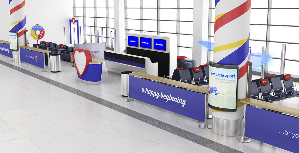We designed ways to address each opportunity area. We gave Southwest a toolkit of design elements that could be used to build a transformational passenger experience.