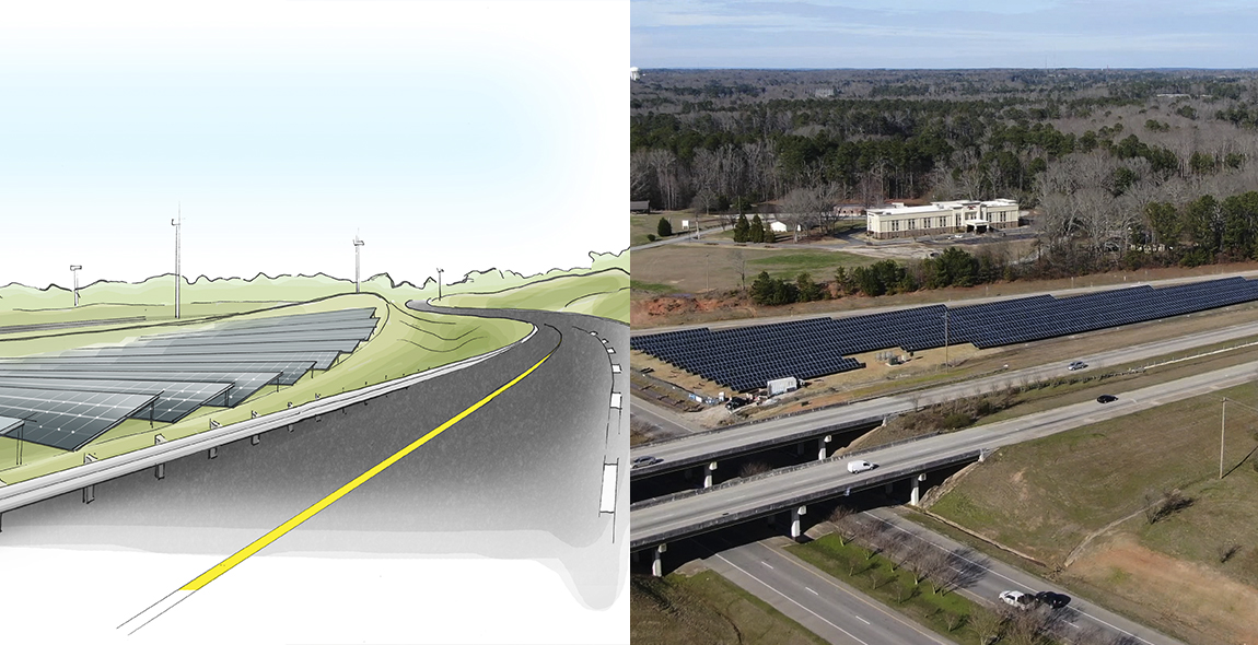 Figure 1 Our vision for roadside solar.  Figure 2 The Ray and Georgia Power have installed 1MW of roadside solar at Exit 14 on I-85 in Georgia.