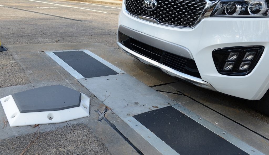 Figure 3 The Ray have installed WheelRight's drive-over tyre-pressure monitoring system at a visitors' centre on I-85 in Georgia.